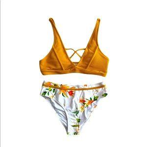 NWT Yellow white floral high waist bikini medium